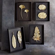 A quartet of unique @michaelaram shadow boxes creates a simple yet eye-catching effect.  Click the link in our bio to shop these pieces.      #luxdeco #homedecor #interiordesign #homeaccessories #michaelaram #gold #nature #interiorstyling #homedecor #interioraccessories #wallart