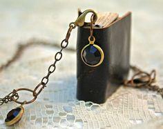 Midnight Blue Leather Mini Book Necklace by SailorsRavineStudio, $25.00