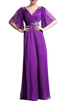 Emmani Womens Vneck Middle Sleeve Chiffon Lone Mother Formal Evening Dresses Purple 16 -- Find out more about the great product at the image link.