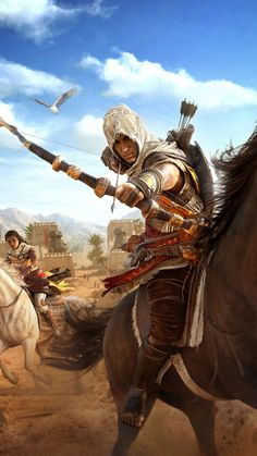 Assassin's Creed Origins, horse riding, archer, video game, 720x1280 wallpaper