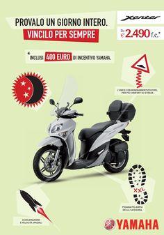 Yamaha Xenter in promozione sulle cartoline pubblicitarie Ambient Media