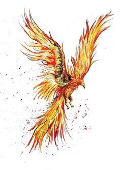 Personalised Inky Phoenix Art Print, Fantasy Wall Art, Phoenix Poster by SplatterInkArt on Etsy Tattoo Ave Fenix, Fenix Tattoos, Tattoos For Women Small, Small Tattoos, Pheonix Drawing, Phoenix Painting, Phoenix Artwork, Quirky Gifts, Art Tutorials