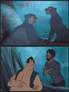 Baloo and Bagheera: Jungle Book - Artist Has Reimagined 14 of Our Favorite Disney Animals and Turned Them into Humans Disney Magic, Disney Pixar, Disney Fan Art, Disney Animation, Disney And Dreamworks, Disney Love, Disney Films, Disney Stuff, Cartoon Cartoon