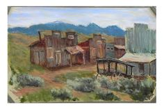 China Town, VC, Nv - plein air - (That is an authentic hearse carriage coffin inside and all!)