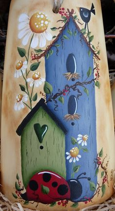 Wood Painting Art, Tole Painting, Tole Decorative Paintings, Fabric Painting, Country Crafts, Country Art, Painted Slate, Primitive Painting, Folk Art Flowers