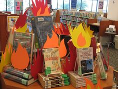 Banned Book display - Because if it's banned, you know it's gotta be good. This is a very awesome display, really gets the point across.