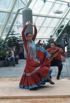A husband and wife flemenco performance in the indoor skyway park in St. Paul, MN.  He said he almost stuck his tongue out to be funny. Film-based photo.  Early 80's, when I was learning photography using a Carena camera using Pentax screw mounted lenses.