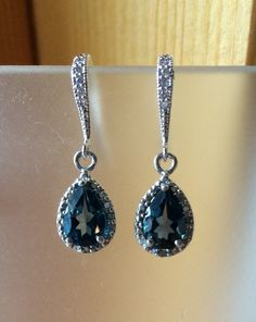 London Blue 3 ct. Topaz and Diamond drop sterling by 310jewelry