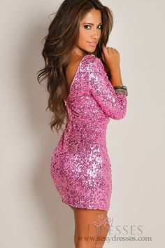 Shimmering Pink Glam Half-Sleeve Sequin Party Dress. Sold out :( Super cute though!
