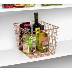 Spectrum Medium Storage Basket, Copper Image 3 of 3 Wire Basket Storage, Wire Storage, Metal Baskets, Basket Shelves, Media Storage, Small Storage, Gold Wire Basket, Wood Plank Shelves, Vintage Lockers
