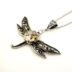 Geek Dragonfly Pendant  Clockwork Watch Insect by SteamSect, $35.00
