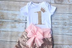 First birthday outfit Gold Sequin shorts pink by NylaMarieKids