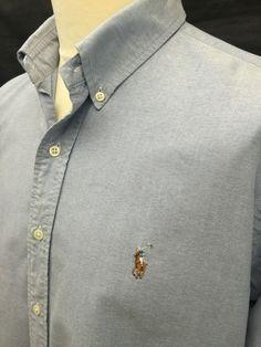 Polo #RalphLauren #Mens Shirt XL Custom Fit Plain Blue #Oxford Cotton #menswear #mensfashion #mensstyle