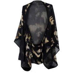 Alexander McQueen Cammo Cape ($615) ❤ liked on Polyvore featuring outerwear, jackets, tops, cardigans, black cammo, alexander mcqueen, cape coat and alexander mcqueen cape