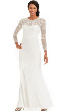http://www.lyst.com/clothing/adrianna-papell-long-sleeve-beaded-illusion-gown-ivory/