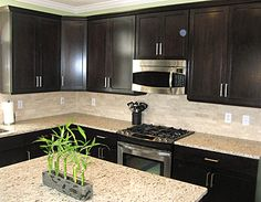 Backsplash and  counters - Expresso cabinets - sleek but not too modern