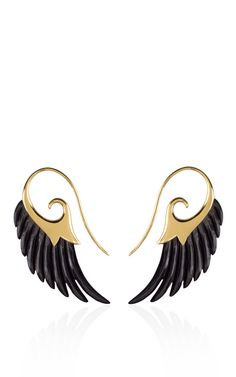 Shop Fly Me To The Moon 18K Yellow Gold Ebony Wing Earrings by Noor Fares for Preorder on Moda Operandi