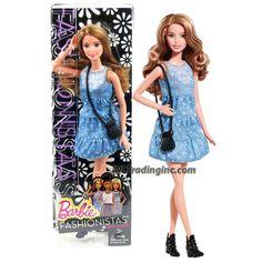Mattel Year 2014 Barbie Fashionistas Series 12 Inch Doll Set - #8 Denim 'N Dots SUMMER (CLN67) in Blue Dress with Purse