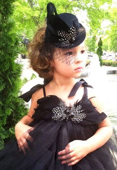Little Black Feathered Dress and Top Hat Audrey Hepburn Style  http://www.blissycouture.com/Costumes/Audrey_Hepburn_Tutu_Dress