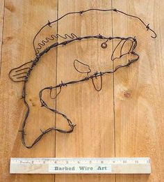 Bass Fish  handmade metal decor barbed wire by BarbedWireArtist, $18.75