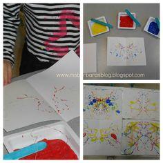 Dental floss painting; For the Children: Community Helpers: Preschool Style