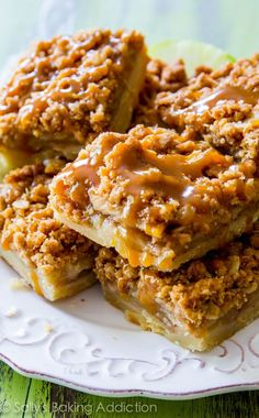 These Salted Caramel Apple Pie Bars are mind-blowing delicious! So much easier to make than an entire apple pie, too. Recipe by sallysbakingaddiction.com