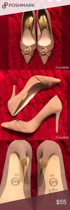 Michael Kors Taupe Suede MK logo heels 👠 Michael Kors Taupe Suede MK logo heels 👠 EUC Burgundy Suede, Gold MK emblem. Pointed Toe Pumps. ✨Super cute and comfy 😊 Worn a couple of times, so they're practically new! ❌No Trades ⚠️ No Holds! Happy 🎉Poshing! Happy  🎁☃️❄️ Holidays Michael Kors Other