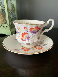 Vintage Royal Albert Teacup and Saucer Gorgeous Orange and Purple Flowers, Bone China, England, Vibrant Colour on the Flowers. Chocolate Photos, Hot Chocolate, Orange And Purple, Orange Flowers, Cherry Blossom Bonsai Tree, Royal Albert, Queen Anne, Hand Blown Glass, Teacup