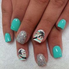 For tropical nails, shades of blue, pink, orange, and green work just perfectly. We have gathered some 50 hot tropical nail art designs. Tropical Nail Designs, Tropical Nail Art, New Nail Designs, Beach Nail Designs, Colorful Nail, Toe Nail Designs Summer, Summer Design, Fancy Nails, Trendy Nails