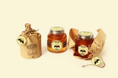 Packaging and design for a potential honey company, Beeline Honey.