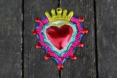 Mexican Folk Art - Tin Ornaments Milagros - Heart with Crown, Heart Love Token