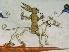 rabbit riding a hound with a trained snail of prey       Pontifical of Guillaume Durand, Avignon, before 1390.      Paris, Bibliothèque Sainte-Geneviève, ms. 143, fol. 165r