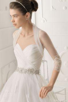 aire barcelona 2014 omega strapless wedding dress tulle bolero shrug jacket, such a pretty bolero, love the bodice and the belt!