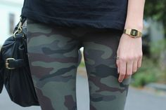 Detail photo of camouflage patterned leggings
