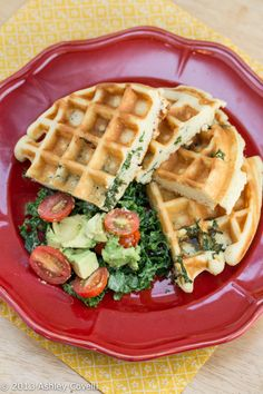 okay, this sounds CRAZY, but we may have to try it: Tahini Kale Stuffed Belgian Waffles with Avocado Tomato Salad