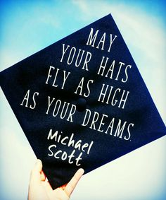 Graduation Cap The Office Michael Scott Quote Hats Fly As - College Graduations Funny Graduation Caps, Graduation Cap Designs, Graduation Cap Decoration, Graduation Diy, High School Graduation, Graduation Pictures, Funny Grad Cap Ideas, College Graduation Quotes, Grad Pics