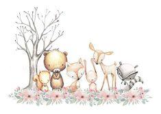 Woodland Amigos vivero impresión bosque animales impresión | Etsy