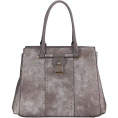 Mkf Collection Tansy Padlock Satchel ($36) ❤ liked on Polyvore featuring bags, handbags, grey, grey handbags, multi pocket handbags, satchel purses, gray satchel handbag and faux leather satchel