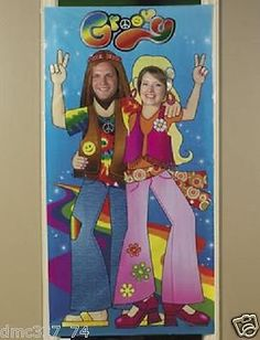 Hippie Photo Door Banner : This vinyl Hippie Couple door banner makes a perfectly retro photo op for your next party! It features a fun pair posed with the peace sign. Includes two face cutouts. Hippie Birthday Party, Hippie Party, 1960s Party, Retro Party, 50th Party, 60th Birthday Party, Party Props, Party Themes, Party Ideas