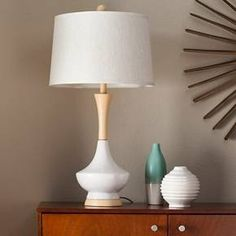 Ceramic Table Lamp With Wood-Style Base - White