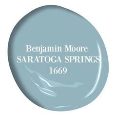Saratoga Springs Benjamin Moore paint is a beautiful light to medium blue color for a tranquil, coastal, and modern look.