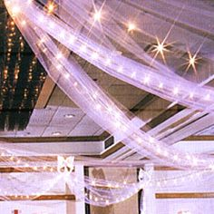 reception idea, across the head table, we have white rope lights