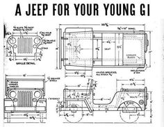 Free to download these print ready vintage plans to build not one but two jeep pedal cars.