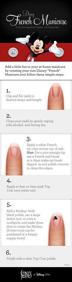 disney senses spa mickey french manicure - Google Search