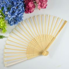 Engraved Wooden Fan Wedding Favours
