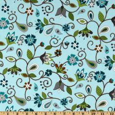 Stitch Organic Stitched Flowers Lagoon/Sky