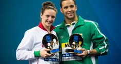 The magyar Katinka Hosszu and the sudafrican Chad Le Clos are also the best Summer Olympics, Swimming, Good Things, Baseball Cards, Doha, Fan, Sport, Sports, Deporte