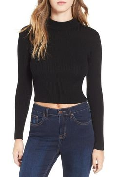ASTR 'Nellie' Crop Mock Neck Sweater available at #Nordstrom