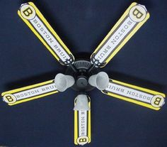 """Ceiling Fan Designers 52FAN-NHL-BOS New NHL BOSTON BRUINS HOCKEY Ceiling Fan 52 by Ceiling Fan Designers. $189.00. 52"""" Ceiling Fan with Light Kit. It is a hand crafted ceiling fan perfect for any child's room, office, den, garage, playroom, bedroom, restaurant, etc. It has a convenient three speed switch for year round comfort. Summer-forward air motion creates cooling breeze and winter-reverse air flow recirculates rising warm air. The (3) alabaster-style gla..."""