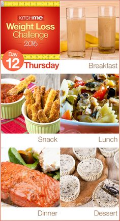 Day 12 Meal Plan Recipes – Weight Loss Challenge for Weight Watchers - Chocolate Banana Smoothie, Zucchini Fries, Spicy Tuna Pasta Toss, Honey Glazed Salmon, and Cookies and Cream Tortoni